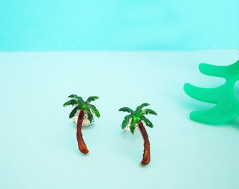 Palm Tree Earrings - Tropical Earrings - Palm Tree Jewelry - Beach  Earrings - Palm Tree Gifts - Enamel Silver - Womens Stud Earrings