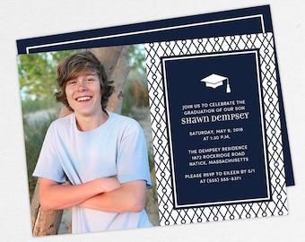 Graduation Invitation, Photo Graduation Invitation, Graduation Announcement, Printable, PDF, DIY, Printed Invites, Modern, Boy, Shawn, Navy