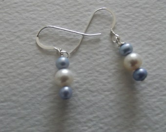 CB 87  Pearl Earrings with freshwater white and blue pearls.