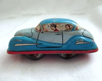 Vintage Tin Litho Wind Up Crazy Car Germany Great Graphics Blur Red