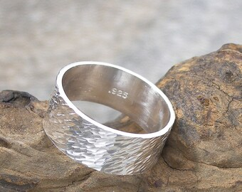 Wide Silver Band Ring, Thumb Ring, Hammered or Textured Unisex Ring, 8 mm wide