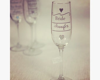 Wedding glass - Bridesmaid glass, Champagne flute, Maid of Honour personalised glass, Party glasses, Wedding gift
