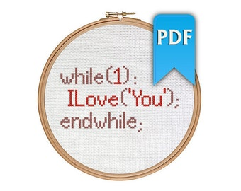 I Love You (always) in code - programming nerdy cross stitch pattern for Valentine's day. Instant download