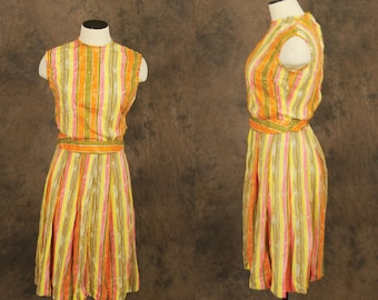 CLEARANCE SALE vintage 60s Blouse and Skirt Set - Citrus Orange, Yellow, and Green Circle Skirt and Shirt - 1960s Dress Sz XS