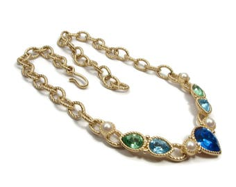 Vintage Blue Green Rhinestone Necklace by MONET