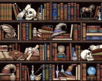 Quilting Treasures Spellbound Library Skull Owl Dragon Book Magic Fabric 26608-J BTY