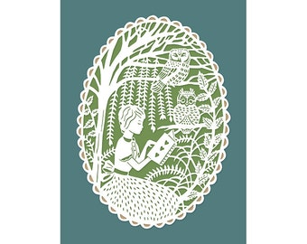 5x7 Papercut Print - Reading in the Trees with Owls - Original Illustration