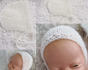 Newborn size knit bonnet in mohair,photo prop,gift idea,coming home
