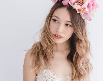 pink statement flower crown // spring racing flower crown / spring carnival flower crown / spring races flower headband / flower fascinator