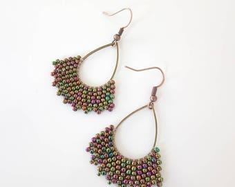 Drop earrings woven seed beads, pearls, handmade, ethnic earrings Bohemian jewelry ethnic earrings