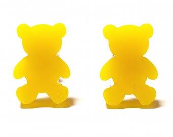 Gummy Bear Stud Earrings in Orange Yellow or Red Gummy Bear Novelty Earrings Teddy Bear Acrylic Earrings Hypoallergenic Titanium Earrings