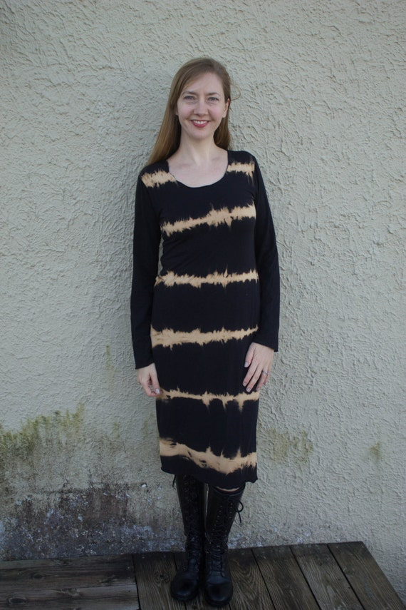Live Wire Dress, Organic American Grown Cotton Knit Dress, Black Shibori Dress