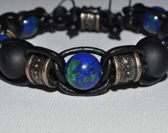 leather strap azurite malachite onyx 23 cm-thin 12mm - high quality stones