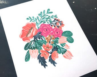 Painted Floral - Art Print - Limited Edition Giclee Print (8 x 10in)