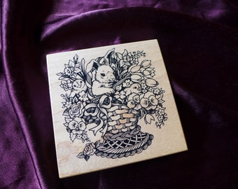 Vintage PSX Easter Bunny Chick Rubber Stamp