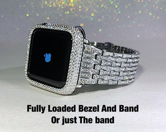 Fully Loaded Apple Watch Band/ Lab Diamond Bezel Sterling Silver High End Luxury Iwatch bling. 38mm/42mm Series  2 or 3