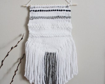 Neutral Gray and White Woven Wall Hanging