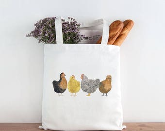Chickens Tote Bag / Canvas Tote Bag / Gifts for Her / Farmhouse Gifts / Gifts for Farmers / Homestead Gifts / Chickens Market Bag / Chickens