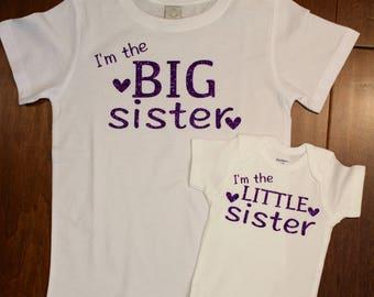 Big Sister shirt, Little Sister bodysuit, Big Sister Little Sister shirt set. Big Sister, Little Sister,Big Sister Shirt, I'm The Big Sister