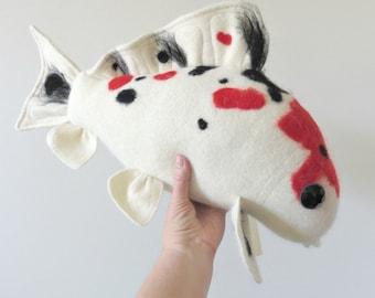 OOAK Plush Koi Fish, Needle Felted Stuffed Koi, Decorative Plush Koi Pillow