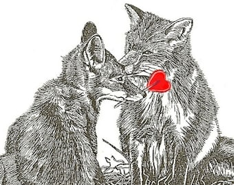 Fox Card Valentine and Heart Lollipop Red Foxes Romantic Anniversary Love Greeting Card Pen and Ink
