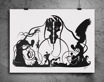 "Harry Potter Tale of Three Brother Screen Print of my silhouette deathly hallows harry potter gift death artwork harry potter art 12""x18"""