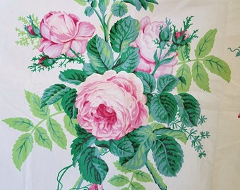 """Vintage Cyrus Clark Chintz Floral Fabric """"Suprema"""", 1987. Cabbage Rose, Pink, Green, on a crisp white background, Fabric Remnant"""
