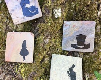 Alice in Wonderland Coasters - Set of 4