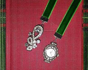 Emerald Green Velvet Bookmark with Vintage Timepiece