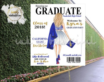 PRINTABLE Graduation Sign, Welcome Poster, Grad Party Decor, The Tassel was worth the hassle, She believed she could so she did, Banner,