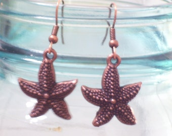 Antiqued Copper Starfish Earrings, Sea Life Earrings, Beach Jewelry, Beach Earrings, Sea Life Jewelry, Starfish Jewelry, Nautical Jewelry