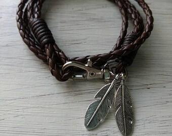 Brown - Leather Woven Wrap Bracelet