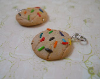 Polymer clay sugar cookie with sprinkles charm/bracelet / earrings / keychain