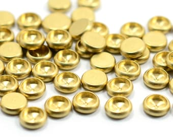 100  Pieces Raw Brass Industrial Cabochon Settings 4 mm Bezel Round Edge Findings