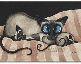Siamese Cat Kittens Cuddling Family Pet ArT - Prints by Bihrle CK374