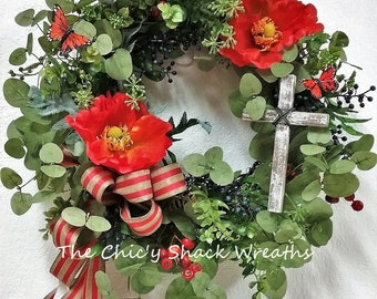 """Spring Wreath with a Cross,Inspirational Wreath,Wreath of FAITH,Wreath with a Cross,Summer Wreath,Front Door Wreath,Small Wreath,20""""/21"""""""
