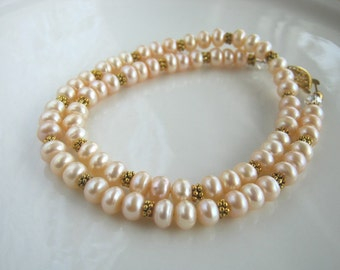 Light Apricot Freshwater Pearl Necklace (18.5 inches)
