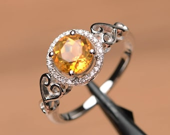 natural citrine ring engagement ring round cut ring silver ring yellow November birthstone gemstone ring