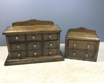 MINIATURE DRESSER and NIGHTSTAND, Traditional 1:12 Scale, 1970's - 1980's, Vintage Dollhouse Wood Furniture