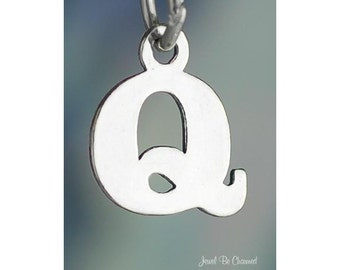 Sterling Silver Small Letter Q Charm Initial Capital Letters Solid 925