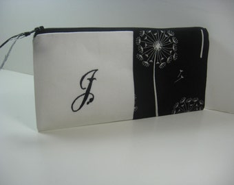 Monogrammed Clutch,  Initialed Purse, Zipper Pouch, Personalized Bridesmaid Clutch, Makeup Bag Made To Order - Black and White