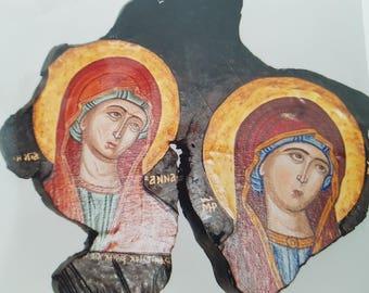 Saint Anne & Holy Virgin Mary. Original icon on wood, 22K gold leaf