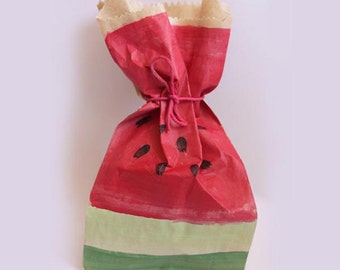 Watermelon favour bags. Hand painted. x 10
