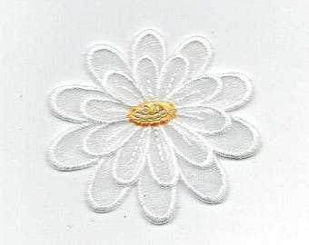 White - 3-D Layered Flower - Iron on Applique - Embroidered Patch - 153651L
