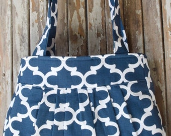 Pleated Bag- Navy Tile
