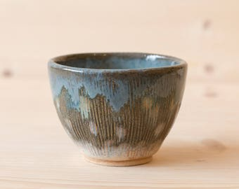 Tea Bowl Japanese Style Stoneware Handmade Textured Tea Cup. Handless Cup, Hand Crafted Ceramics Blue and Brown.