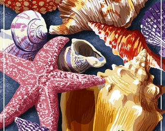 Pismo Beach, California - Shell Montage (Art Prints available in multiple sizes)