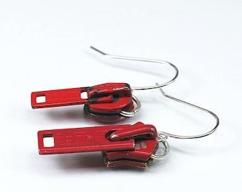 Red Zipper Pull Earrings- Zipper Earrings, Sewing Jewelry, Upcycled Jewelry, Recycled Jewelry, Red Zipper Jewelry, Gift for Sewer