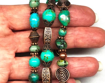 Turquoise Copper Stretch Bracelets,Set of Three,Genuine & African Turquoise,Turquoise Howlite,Copper Beads,Native American Inspired,Boho