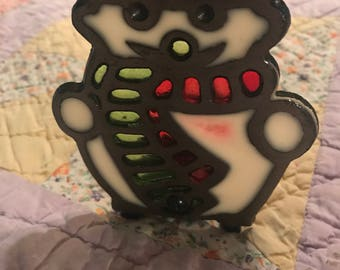 Vintage Stained Glass Christmas Candle Holder. Stained Glass Christmas Snowman Candle Holder. Stained Glass Votive Holder.